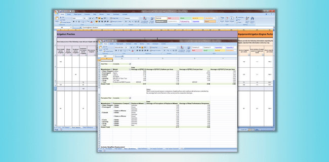 Data analysis spreadsheets for FEED 2011