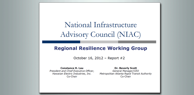 NIAC Regional Resilience Working Group report cover