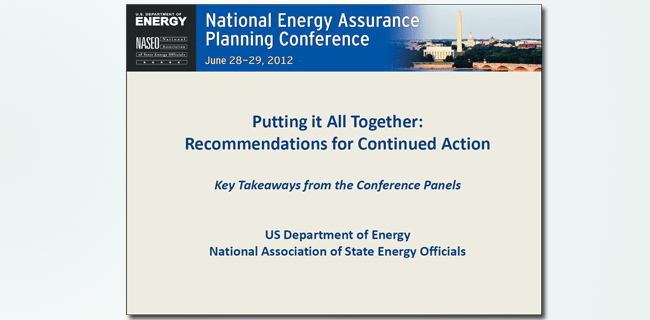 National Energy Assurance Planning Conference takeaways slide