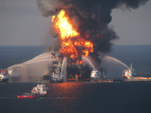 Deepwater Horizon fire (U.S. Coast Guard Photo)