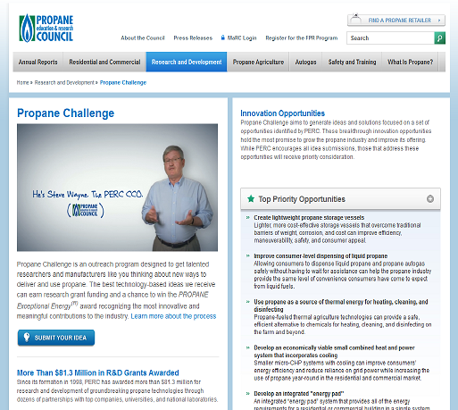 Propane Challenge website screenshot