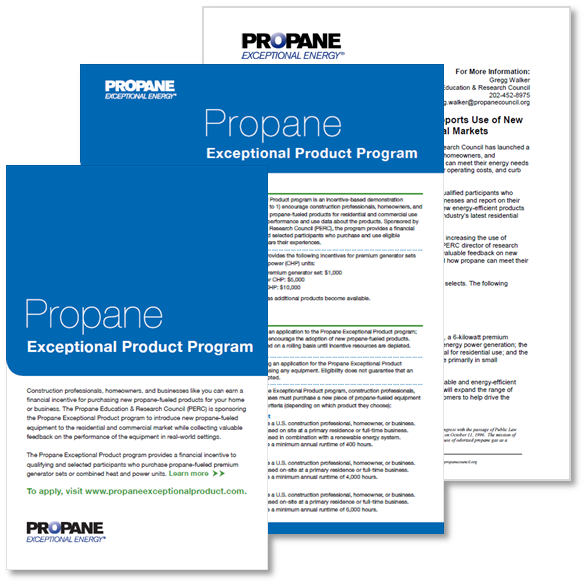 Propane Exceptional Product Program communications materials