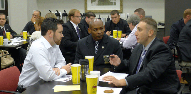 small group discussion at a tabletop exercise