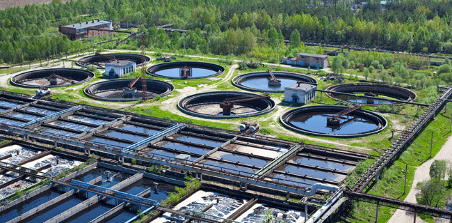water recycling at a sewage treatment plant