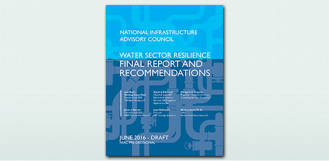 The cover of the Water Sector Resilience Report.